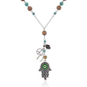 Onnea Long Wood Beads Evil Eyes Necklace, 28in (Green)