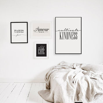 "Typography Print ""Cultivate Kindness"", Wall Decor, Wall Art Print, Home Decor, Wall Art, Black and White, Typography Poster, Quote Wall Art"