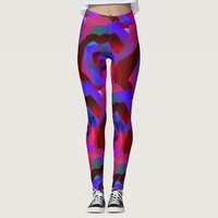 Glamorous dark red purple blue abstract rose leggings