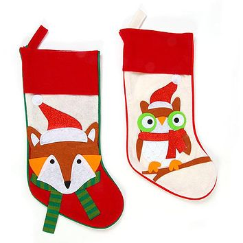 Felt Owl and Fox Christmas Stockings - 36 Units