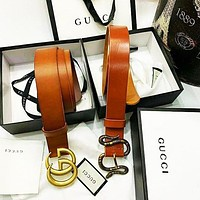 Gucci High quality Hyperelastic cortex Print Belt Belt Women Men Belt Orange&Black