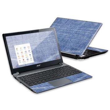 """Mightyskins Protective Skin Decal Cover for Acer C7 Chromebook with 11.6"""" screen wrap sticker skins Denim - Walmart.com"""