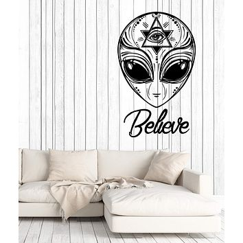 Wall Vinyl Decal Alien UFO Humanoids Space Stars Home Decor Unique Gift z4671
