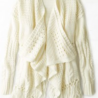 AEO Women's Open Fringe Cardigan (Frosty Cream)
