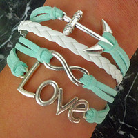 Mint green anchor ring bracelet,infinity bracelet, leather, Birthday gift, A3
