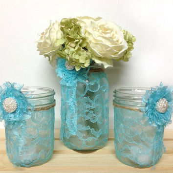 3 peace lace covered mason jars, candle holder and vase, wedding decor, FREE CANDLE new