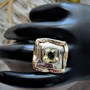 Unique Artisan Crafted Sterling Silver 14K Gold Faceted Lemon Quartz Ring