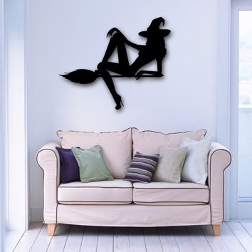 Vinyl Decal Beautiful Witch Halloween Witchcraft Girl Room Wall Stickers Unique Gift (ig099)