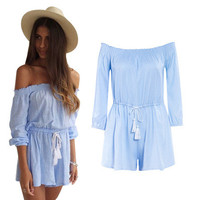 Sexy Off Shoulder Loose Long Sleeve Romper a12276