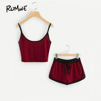 ROMWE Burgundy Casual Cami 2 Piece Set 2017 Women Ringer Brief Crop Top With Drawstring Shorts Summer Color Block Two Piece Set