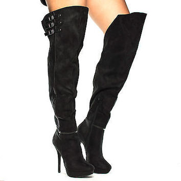 Sonny100 Black By Wild Diva, Almond Toe Asymmetric Thigh High Platform Stiletto Heel Boots