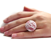 Lace Cocktail Ring Pink