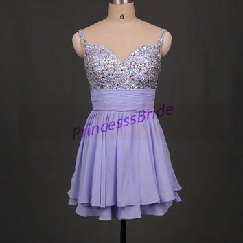 2014 short lavender chiffon prom dress on sale,sexy v neck gowns for holiday party,cheap cute homecoming dresses under 150.