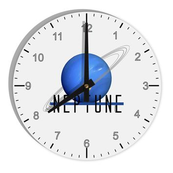 "Planet Neptune Text 8"" Round Wall Clock with Numbers by TooLoud"