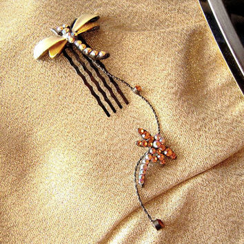 Rhinestone dragonfly metal hair comb clip with aurora borealis rhinestones, new never worn, wedding hair adornment, fairy, amber, brown gold