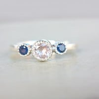 Morganite Blue Sapphire Ring Sterling Silver Milgrain Ring Natural Sapphire & Morganite Engagemet Ring Size 6,5-7 September Birthstone
