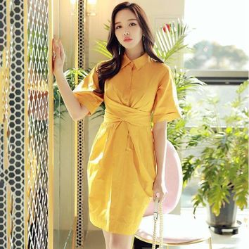 Original Brand Vestidos Clothes Elegant High Waist Short Sleeve Ginkgo Yellow Bow Shirt Dress Women
