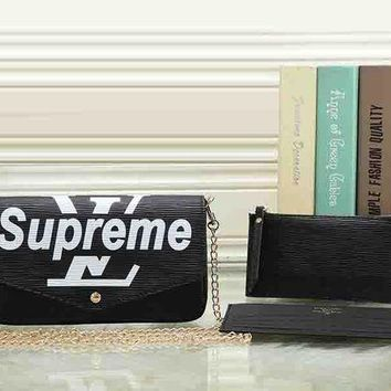 LV X Supreme tide brand fashion leather three-piece leather shoulder Messenger bag purse F