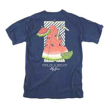 Lily Grace One in a Melon Short Sleeve T-shirt in Navy 12217
