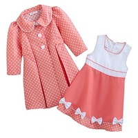 Bonnie Jean Dotted Dress & Peacoat Set - Baby