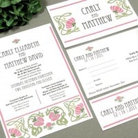 Art Nouveau Floral Vine | Vintage Wedding Invitation Suite by RunkPock Designs | Art Deco Flower Border Invitation Design | shown in sage green, brown and rose pink