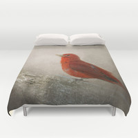Song of the Summer Tanager 1 - Birds Duvet Cover by Jai Johnson