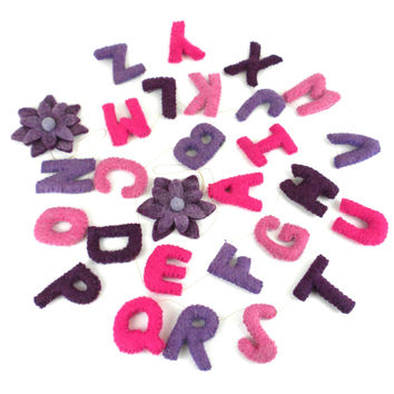 Pink Felt Alphabet Wall Hanging - Fair Trade