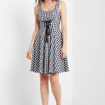 Molly Gingham Fit and Flare Dress