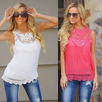 Hot Sexy Women's Casual Loose Sleeveless Chiffon Vest Tank Plus Size Women Blouse Summer Style Chiffon Lace Tops Sleeveless