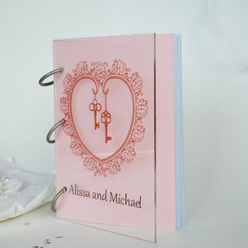 Wedding Guest Book Modern design Transparent organic glass, Personalized with names Vintage Key