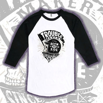 60th Birthday Raglan Gift For Men and Women - Trouble Maker Since 1956 - Born to Ride - Motorcycle Shirt T-shirt Gift idea TM-1956