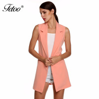 Women's Jacket Sleeveless Long Cardigan Blaser Feminino Work Suit Chic Vest Blazer Solid Color Female Women Basic Coats Outwear