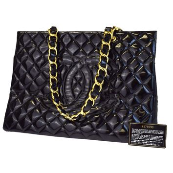Authentic CHANEL CC GST Quilted Chain Shoulder Bag Patent Leather Black 50V1976
