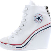 Maxstar Women's 777 Back Zipper Canvas High Wedge Heel Sneakers White