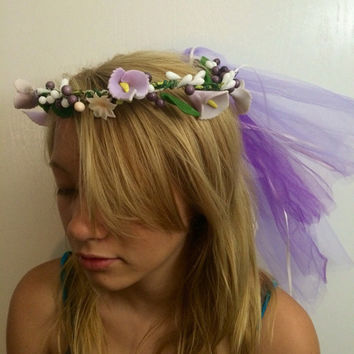Flower crown, colorful, festival, hair vine, garden wedding, summer headband, edc, rave outfit, accessories, coachella, fairy, hippie