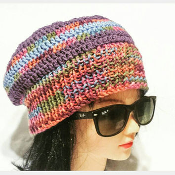 Women Crochet Slouch, Bohemian beanie, Fashionable Gift, Colorful Slouchie, Multicolor Cap, Hat with Stripes, Hippie Beret, All Season Hat