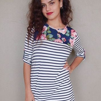 Work The Bloom Navy Blue Stripe And Floral Print Shift Dress