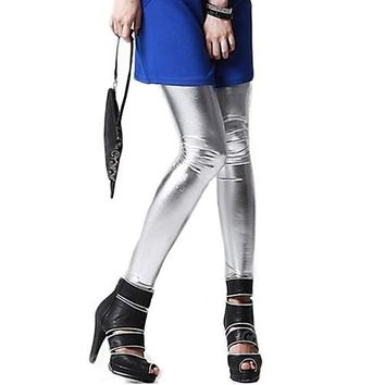 Girls Metallic Colorful Shiny Sparkle Spandex Faux Leather Summer Leggings