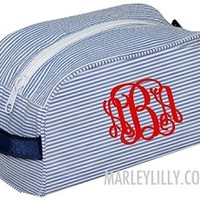 Monogrammed Navy Seersucker Cosmetic- Large