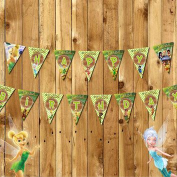 Princess Tinkerbell Banner Baby Shower Birthday Party Decorations Kids Event & Party Supplies Party flags Candy Bar