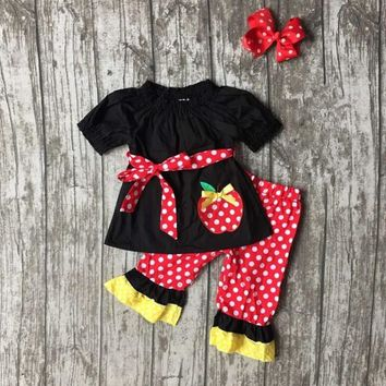 Back To School Apples and Dots Outfit