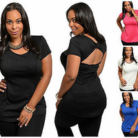 The Plus SIze Textured Short Sleeve Sexy Back Top