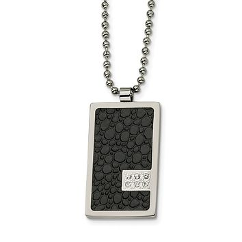 Men's Steel and Textured Textured Dog tag Necklace with Diamonds