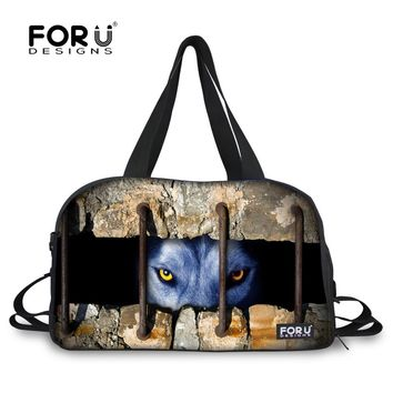 Customize Fashion Luggage Handbag Animal 3D Lion Bear Pattern Men Travel Tote Bag Portable Male Travel Duffle Large Capacity