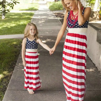 Mommy and Me 4th of July Striped Maxi Dress
