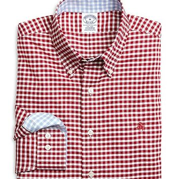 Supima® Cotton Non-Iron Slim Fit Oxford Gingham Sport Shirt - Brooks Brothers