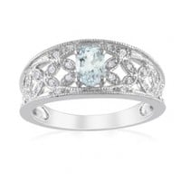 Sterling Silver Aquamarine and Diamond Fashion Ring (0.1 cttw, G-H Color, I2-I3 Clarity)