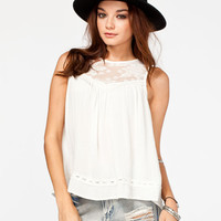Chloe K Victorian Lace Womens Top Cream  In Sizes