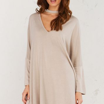 Long Sleeve Oversize Dress in Taupe