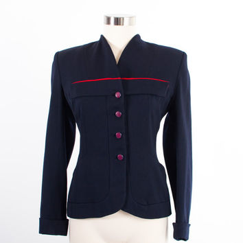 Vintage 1940s BLAZER / Tailored 40s Navy Wool Gabardine Jacket with Red Piping S